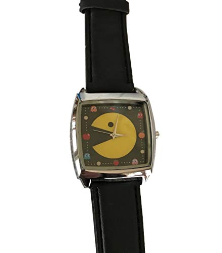 Pac Man Face (Pac-Man Gonna Get You Big Face Black Leather Band Wrist Watch Fan Accessory)