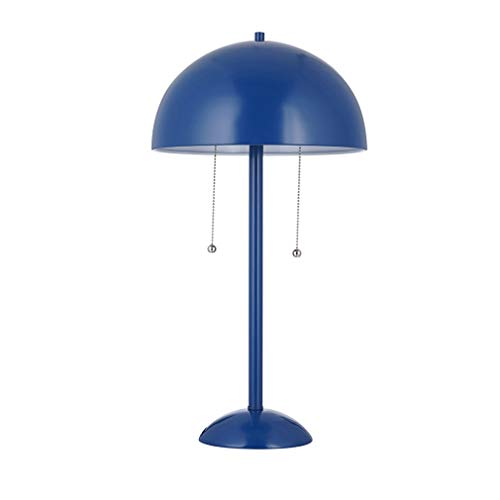 Turtle Base Century Stand - Rivet Aster Modern Dome-Shaped Table Reading Lamp with 2 LED Light Bulbs - 11 x 11 x 21 Inches, Blue