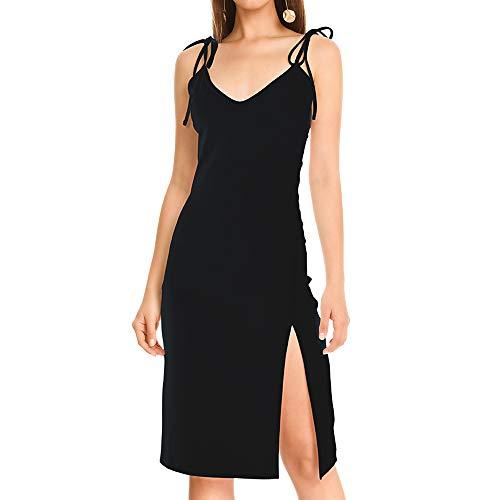 Women V- Shape Low Cut Sleeveless Bodycon Midi Cocktail Dress with Side Split & Adjustable Strap (Black Dress, S)