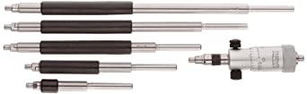 """Starrett 124A Solid-Rod Vernier Inside Micrometers Set, 2-8"""" Range, 0.001"""" Graduation, +/-0.0001"""" Accuracy, Without Case"""