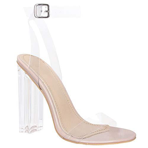 Klaur Melbourne Women Transparent Block Heel and Strap Sandals Multi Colour Shines 3.5 Inch Heel