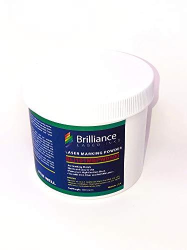 Laser Marking Powder-''Brilliance Laser Inks'' -BLI101MBPWD500 Grams- Black Laser Ink Powder for Metals Marking with CO2/Fiber/YAG (500 Grams) by Brilliance Laser Inks (Image #1)