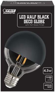 FEIT Electric Half Black DECO GLOBE LED Bulb Flat Black Finish E26 Medium G25