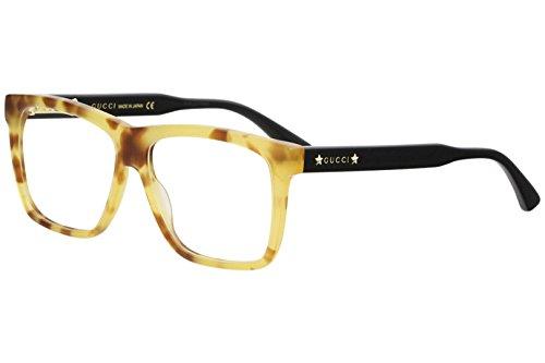 Gucci GG 0268O 005 Light Havana Black Plastic Square Eyeglasses - Frame Light Eyeglasses Havana