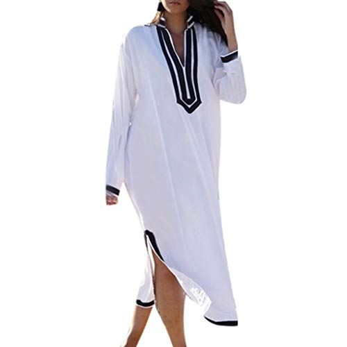 Sagton Beach Dresses for Women Loose Long Sleeve V Neck Solid Side Slit Tunic Dress Holiday Kaftan DressBy (White,XXL)