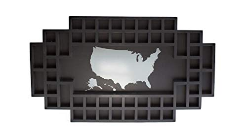 Shot Glass Display Frame - 52 Spaces - Solid Wood Frame - World Map - US Map (Black, US -