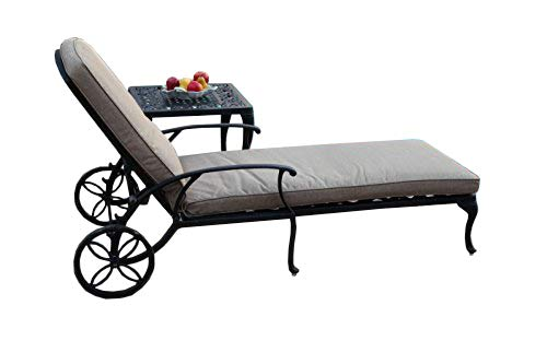 CBM Patio A Pair of 2 Kawaii Collection Cast Aluminum Powder Coated Chaise Lounge with Lite Brown Seat Cushions -