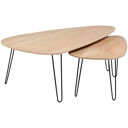 Hawthorne Collections Graphik Contemporary Mango Wood- Hairpin Legs Nesting Kidney Shape Coffee Tables