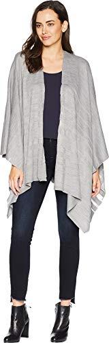 (Calvin Klein Women's Ombre Border Woven Ruana, heather mid grey)