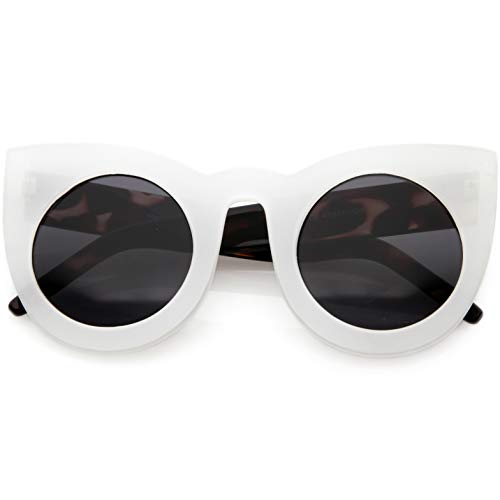zeroUV - 70s Womens Large Oversized Retro Vintage Cat Eye Sunglasses For Women with Round Lens 48mm (White/Smoke)
