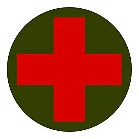 Round Combat Medic Cross Sticker Decal Vinyl