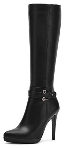 Summerwhisper Women's Sexy Belted Pointed Toe Stiletto High Heel Platform Under the Knee High Boots Black 7.5 B(M) US