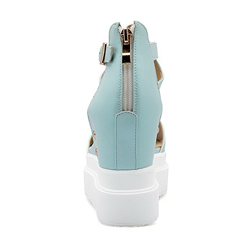 AgooLar Mujeres Pu Sólido Cremallera Puntera Abierta Plataforma Sandalia Azul