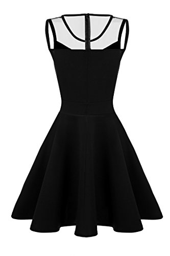 Black ACEVOG Pleated Party Line Cocktail Sleeveless A Evening Crew Dress Neck Women FFqArwP