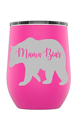 (Stainless Steel Camping & Travel Powder Coated Wine Glass Tumbler with Splash Proof Lid, Triple Wall Vacuum Insulated, Coffee Mug Travel Work|Hot Cold Drinks (Pink, Mama Bear) )