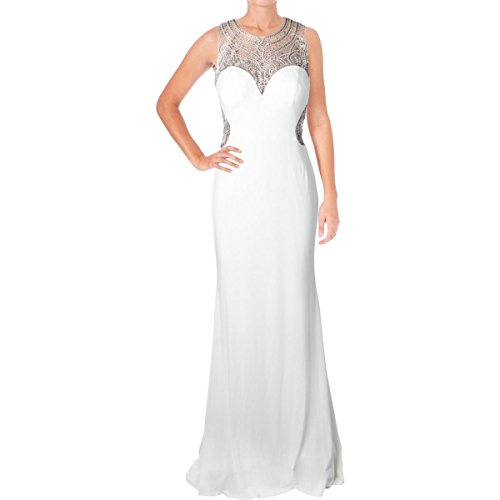 JVN by Jovani Womens Rhinestone Illusion Formal Dress White 4 - Evening Dresses By Jovani