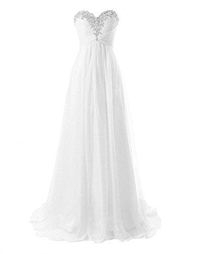 Chiffon Abschlussballkleider Weiß Elegant Linie La Steine Partykleider Abendkleider Braut Herzausschnitt Marie A 1OYT6qwxB