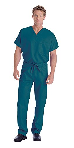 Landau Unisex V-Neck Scrub Top 7502 & Scrub Pant 7602 Medical Uniform Scrub Set (Caribbean Blue - XX-Large)