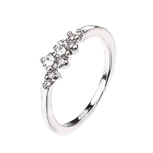 (YJYdada Ring, 9 Diamonds Women's Ring Bride Ring Wedding Ring Birthday Gifts (Silver, 7))