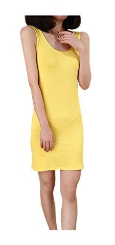 Yellow Casual Women's ARJOSA® Slim Blends Party Midi Bodycon 8 Dress Cotton vPwOndxpw