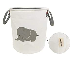 HIYAGON Storage Baskets,Cotton Foldable Round Home Organizer Bin for Baby Nursery,Toys,Laundry,Baby Clothing,Gift Baskets