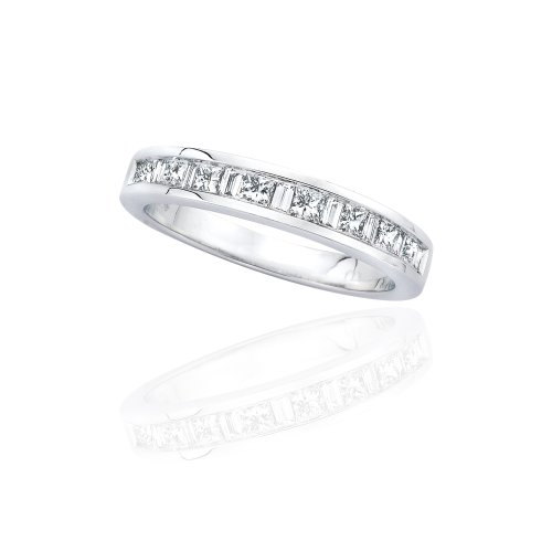 KATARINA Princess and Baguette Cut Diamond Wedding Band in 14K White Gold (1/2 cttw) (Color-GH, Clarity-I1) (Princess And Baguette Cut Diamond Eternity Ring)