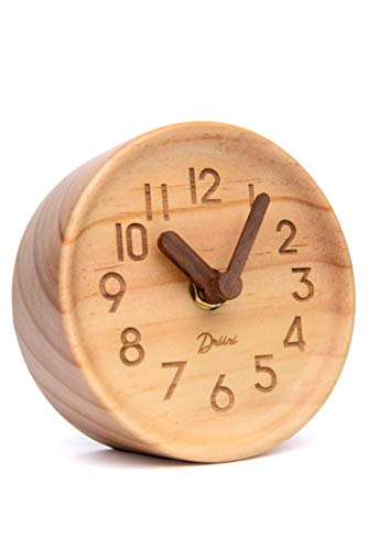 Driini Wooden Desk & Table Analog Clock Made of Genuine Pine (Light) - Battery Operated with Precise Silent Sweep… - MINIMALIST PINE WOOD CLOCK - Perfect decor for your office desk, bedroom table, bathroom counter, or living room mantel PRECISE, QUIET & NON-TICKING - Precision quartz sweep inner movement mechanism quietly maintains the precise time SOLID WOOD FRAME - Sturdy 100% pine wood frame and face. Clocks hour and minute hands made from solid unvarnished wood. - clocks, bedroom-decor, bedroom - 31uzgxpCh2L -