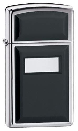 Zippo Slim Ultralite Black Emblem High Polish Chrome Pocket Lighter