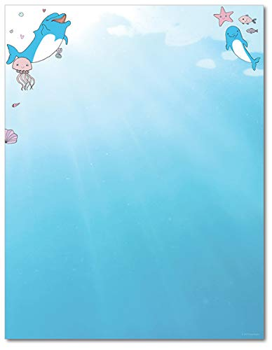 (Dolphin Adventure Stationary Paper - 80 Sheets - Great For Summer Events, Camps, and Parties)