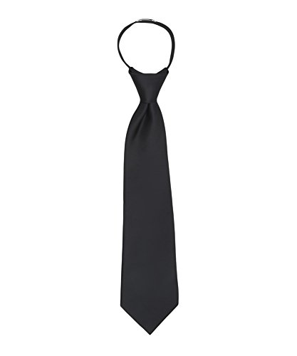 Jacob Alexander Boy's 11'' Pretied Ready Made Solid Color Zipper Tie - Black by Jacob Alexander