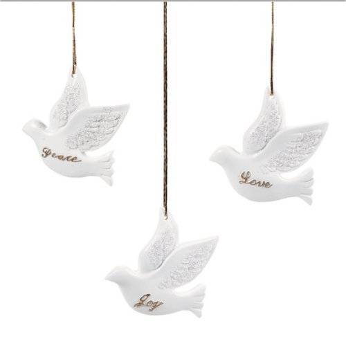 3 Resin Dove Ornaments