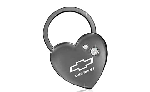 Chevrolet Heart Shape Black Key Chain With 2 Clear Crystals Keychain
