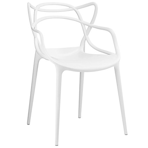 Modway Entangled Modern Molded Plastic Kitchen and Dining Room Arm Chair in White - Fully Assembled (Outdoor Plastic Chairs Contemporary)