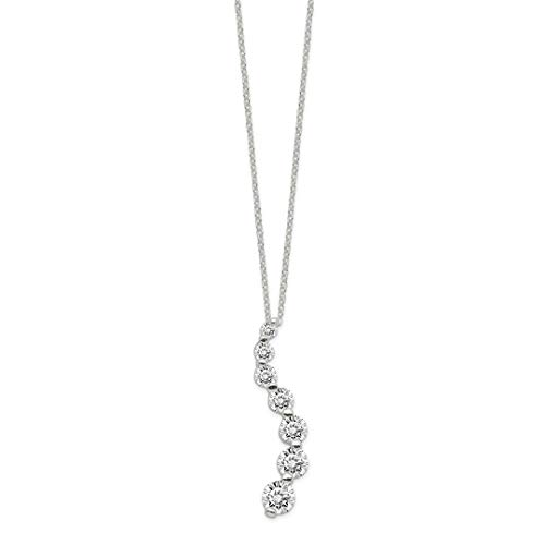 ICE CARATS 925 Sterling Silver Cubic Zirconia Cz Journey Chain Necklace Pendant Charm Fine Jewelry Ideal Gifts For Women Gift Set From (Cubic Zirconia Journey Pendant)