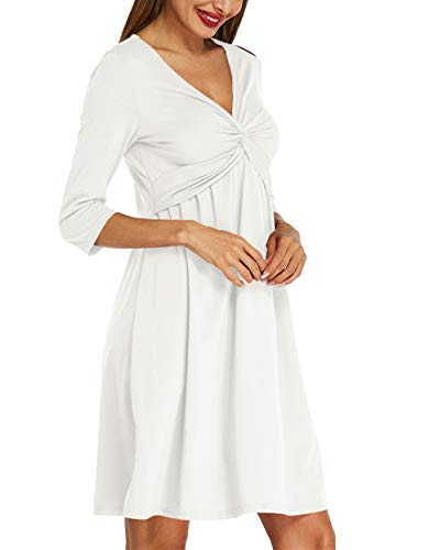 ACHIOOWA Womens Casual Party Midi Dress 3/4 Sleeve V Neck Twist Knot Front Flowy Empire Waist Tank Dress Off White XL