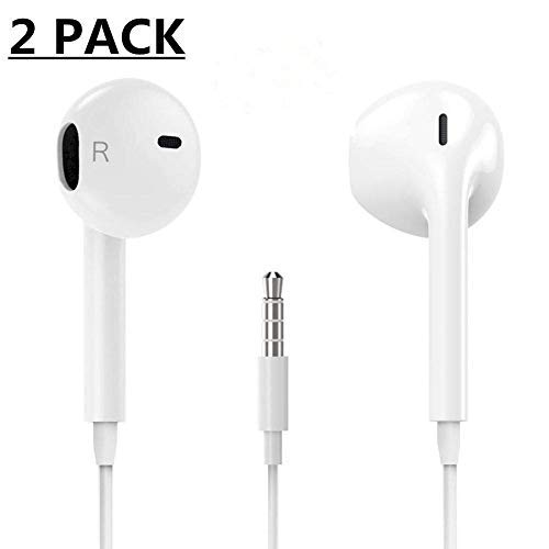 ALECTIDE Earbuds/Earphones/Headphones Stereo Mic Remote Control Compatible with Apple iPhone 6s/6 plus/6/5s/se/5c/iPad iPod (White)(2Pack)