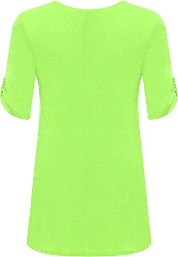 Taglie Lime Corta Campana Top Semplice Da Forti 28 Vert Uk Lungo Donna Da Donna Taglia Girocollo A 14 Manica HX5Swqn1