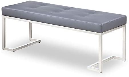 Strange DNA William Bench Rectangle Stainless Steel Frame with Tufted Grey Faux Leather Fully Assembled Accent Long Dining Bench Seat Furniture for Living Room, Entryway or Hallway