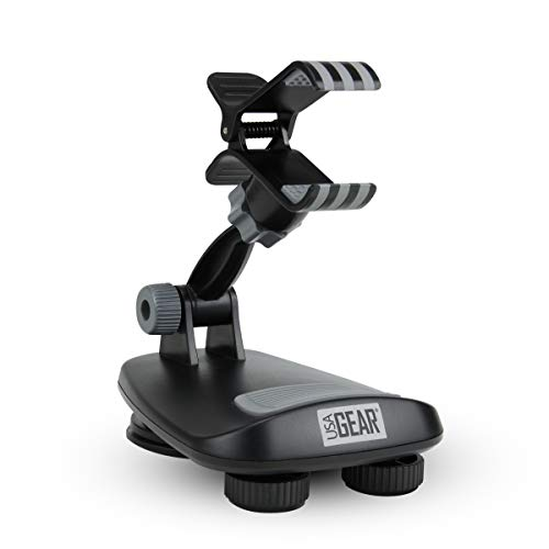 USA Gear Universal Dashboard Smartphone Mount Holder by w/Suction Cup Hold, Non-Slip Weighted Friction Base & 360 Degree Rotating Head – Works with Apple iPhone, Samsung Galaxy & More Phones