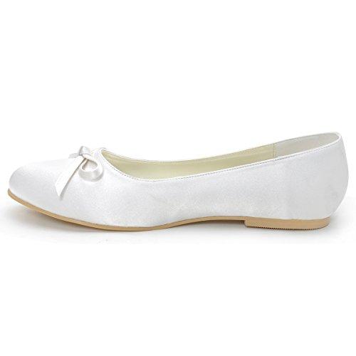 Elegantpark EP2135 bout Femmes Plat Simple de Ivoire Confort Noeud Satin Rond Mariage Chaussures Mariee 44rYw5dxq