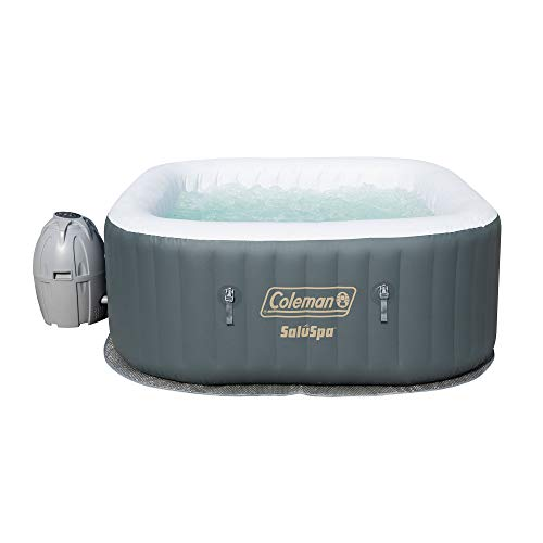 (Coleman SaluSpa 4 Person Portable Inflatable AirJet Spa Hot Tub, Gray)