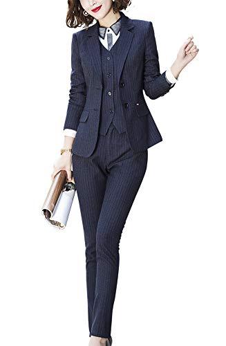 Women's Three Pieces Office Lady Stripe Blazer Business Suit Set Women Suits Work Skirt/Pant,Vest Jacket (Black-889820, S)