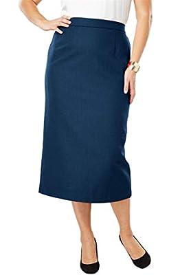 Jessica London Women's Plus Size Wool-Blend Midi Skirt