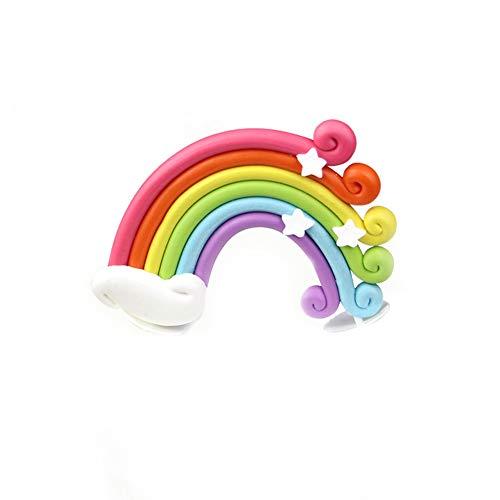 Unicoco Rainbow Cake Topper Cupcake Pick Wedding Birthday Party Favor Dessert Rainbow Design Cake Pick