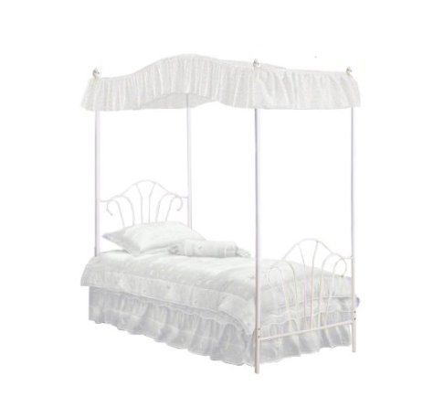 Amazon.com New Twin White Metal Canopy Bed Set with Eyelet White Canopy Fabric Drape! Kitchen u0026 Dining  sc 1 st  Amazon.com & Amazon.com: New Twin White Metal Canopy Bed Set with Eyelet White ...