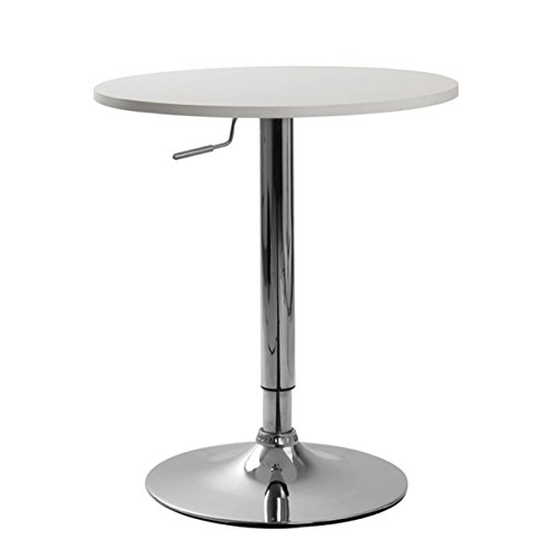 Cumar White Adjustable Height Wood and Chrome Metal Bar Table by Cumar