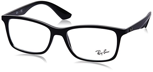 Ray-Ban RX7047 Rectangular Eyeglass Frames, Shiny Black/Demo Lens, 56 ()
