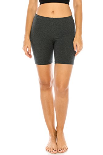 The Classic Women's Stretch Cotton Jersey Bike Shorts in Charcoal Grey - Large -