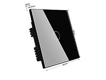 1 blanc 2000.00 wattsW Wallpad 3/couleurs Panneau de Verre Capteur tactile t/él/écommande Interrupteur mural 1000/W lamps Convient