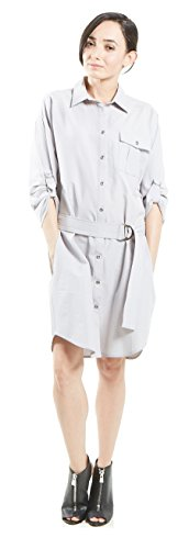 button Deco Grey down Dress Oversized Amangny Hardware Shirt Women's nx84W4RPI